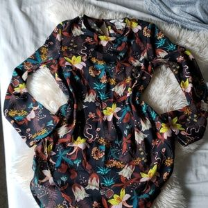 H&M lily dove fall sheer blouse shirt